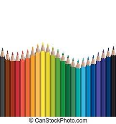 seamless, onda, con, plumas coloreadas