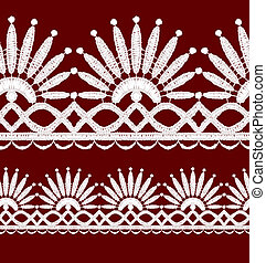 Seamless openwork lace border. Realistic vector...