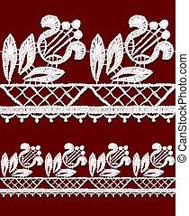 Seamless openwork lace border.