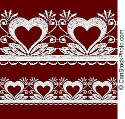 Seamless openwork lace border with hearts. Realistic vector...