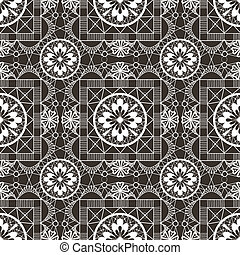 Seamless openwork white lace floral pattern on black
