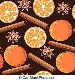 Seamless orange and cinnamon