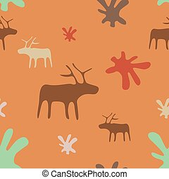 Seamless orange background deer and flowers