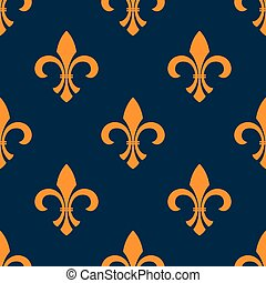 Seamless orange fleur-de-lis floral pattern