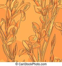 Seamless orange irises