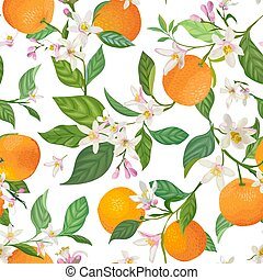 seamless orange pattern with tropic fruits leaves flowers background hand drawn vector eps vector csp69570040