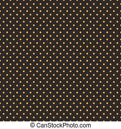 Seamless orange polka dots on black background