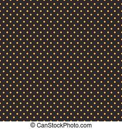 Seamless orange polka dots on black background