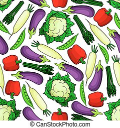 Seamless organic fresh vegetables pattern