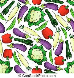 Seamless organic fresh vegetables pattern