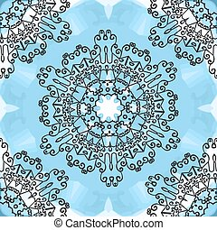 Seamless oriental Mandala Print on blue watercolor background.