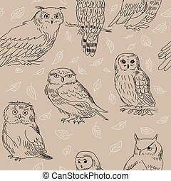 Seamless ornament with various owls and leaves