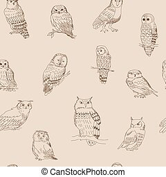 Seamless ornament with various owls in retro style