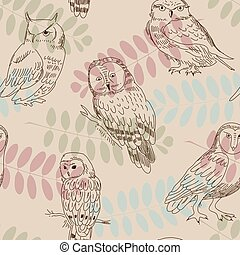Seamless ornament with wild owls on a background of tree branches