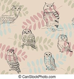 Seamless ornament with wild owls on branches background
