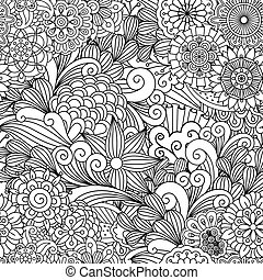 Seamless ornamental full frame background composed of pretty geometric flowers and other artful elements