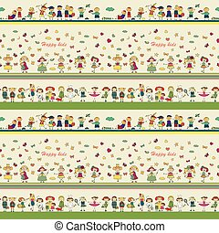 seamless ornamental pattern for kids, magazines , textile industry, happy kids playing