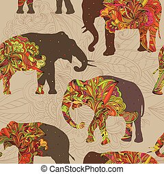 Seamless ornamental pattern with elephants