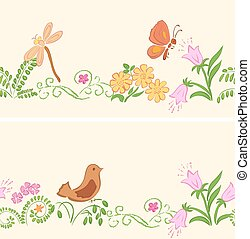 seamless ornaments with flora and fauna - vector