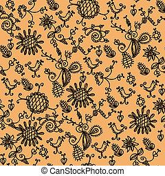 Seamless ornate orange floral pattern
