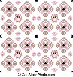 Seamless ornate pattern with cute owl in pink and brown