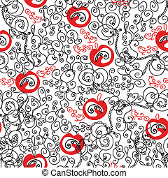 Seamless ornate red and black pattern