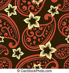 Seamless ornate vector wallpaper pattern with flower buds.