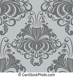 Seamless ornate vintage gray vector wallpaper pattern.