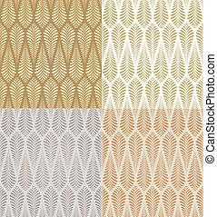 seamless, ouro, padrão folhagem