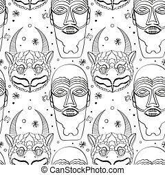 Seamless outline tribal mask pattern
