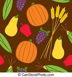 seamless, outono, colheita