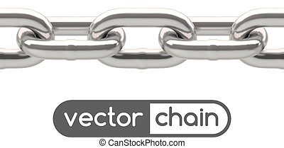 Seamless oval link chain set in silver isolated on white.
