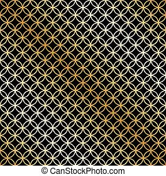 Seamless overlapping circle pattern in vector format. Gold and Black.