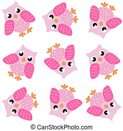 seamless owl pattern in pink colours
