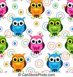Seamless owl pattern - Seamless pattern of cute and fun...