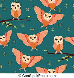 Seamless owl pattern with blue background;