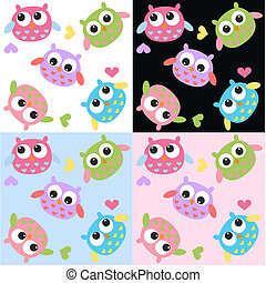 seamless owl pattern with four different background colours