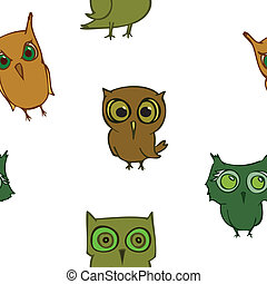 seamless owls, funy birds