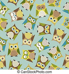 seamless owls pattern