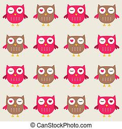 Seamless owls vector pattern