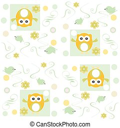 Seamless owls vector pattern vector background