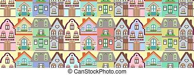 seamless, padrão, cabana, casas