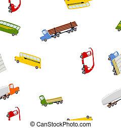 seamless, padrão, caminhões, coloridos, barramentos
