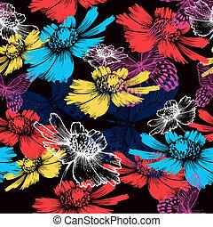 seamless, padrão, com, abstratos, flores coloridas, e, butterflies., vetorial, illustration.