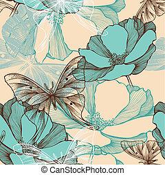 seamless, padrão, com, abstratos, flores, e, decorativo, borboletas, hand-drawing.