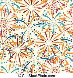 seamless, padrão, com, abstratos, fogos artifício, e,...