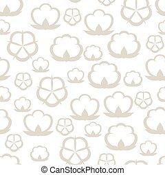 seamless, padrão, com, algodão, bolls., stylized, ilustração