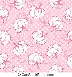 seamless, padrão, com, algodão brota