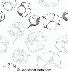 seamless, padrão, com, algodão