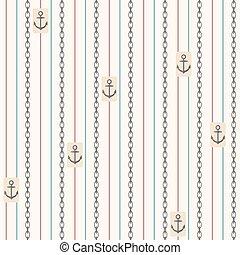 seamless, padrão, com, anchors., náutico, elementos